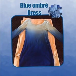 Blue ombré soft stretchy dress or long tunic top